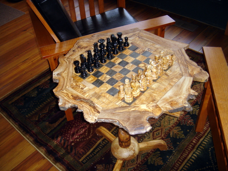 Olive wood chess set